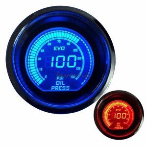 """2"""" 52mm OIL PRESS PRESSURE CAR DIGITAL LED METER GAUGE TINT LENS BLUE RED #7062"""