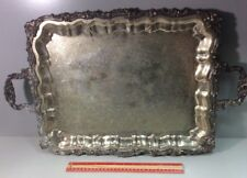 """Sheridan Silverplated Serving Tray Footed With Handles 20"""" X 16"""""""