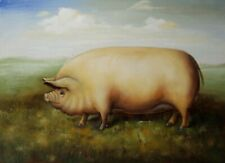 Pig ~ Hand Painted High Quality Oil Painting on Canvas 12