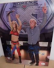 RIC FLAIR & CHARLOTTE FLAIR WWE SIGNED AUTOGRAPH WOOOO 11X14 PHOTO JSA CERTIFIED