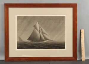 Antique Captain Frederick Seeth Maritime Racing Sloop Yacht Watercolor Painting