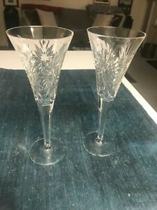 """SET of 2 Waterford 9 1/4"""" MILLENNIUM HEALTH CHAMPAGNE FLUTES GLASSES Stems MINT"""