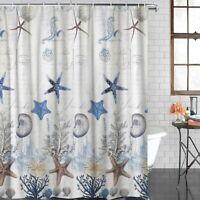 Nice Small Stall Shower Curtain Coastal Decor Seashell Fabric Shower Curtain