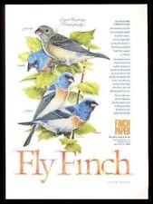 1992 Lazuli Bunting bird family art Finch Paper vintage print ad