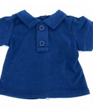 "Lovvbugg Navy Blue Polo Shirt 2-Button for 18"" American Girl or Boy Doll Clothes"