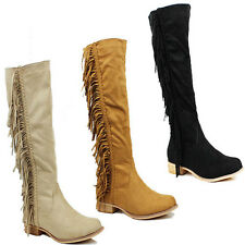 WOMENS NEW CASUAL LOW BLOCK HEEL KNEE HIGH TASSEL FRINGE BOOTS SHOES SIZE 3-8