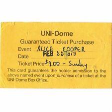 ALICE COOPER Concert Ticket Card Stub CEDAR FALLS IOWA 2/25/79 MADHOUSE ROCKS