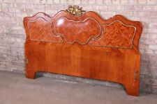 French Louis XV Inlaid Mahogany and Bronze Ormolu Mounted Queen Size Headboard