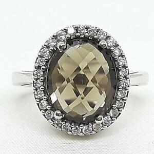 World Class 6.30ctw Cognac Topaz & Diamond Cut White Sapphire 925 Silver Ring