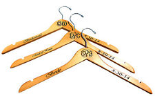 Set of 3 Wedding Party Gift Monogrammed Personalized Maple Wooden Dress Hangers