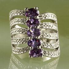 New Fashion Jewery Amethyst Gemstone Silver Wedding Women Finger Ring Size 6