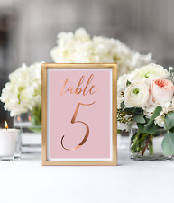 Wedding table numbers / copper and pink table signs / wedding reception number