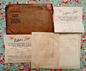 2 x Vintage 1940s/WW2 Sewing Patterns.  Baby Long/Short Dresses & Hooded Cape.
