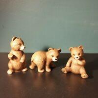 Lot of 3 Vintage HJ+G Ceramic Porcelain Brown Bear Cub Figurines 1414