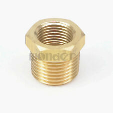 """1/2"""" BSPT Male x 3/8"""" NPT Female Reducing Bushing Brass Pipe Fitting Connector"""