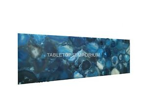 Blue Agate Stone Customized Center, End, Dining/Coffee Table Top Gemstone Decor