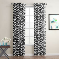 A Pair Black white zebra Sheer Voile linen Window Curtains eyelet top 220