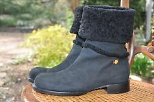 AUTH CHANEL SHEARLING FUR SUEDE LEATHER BOOTS IT 41 US 10.5 MOTO ANKLE BLACK