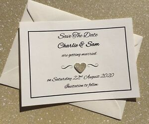 Glitter Heart Personalised Handmade Save The Date Cards & Envelopes. Kate