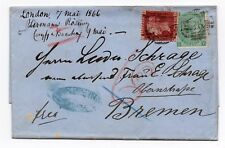 QV 1866 Entire with 1d red Sg 44 pl 100 & 1/- green sg 101 plate 4 To Bremen.