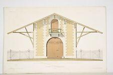 Litho XIX° Victor Petit Grange de Villiers-Haut, Orléanais, architecture rurale