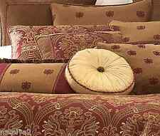 Waterford CASTLE COVE Queen COMFORTER Euros 5 PILLOWS 18PC Set Wine Gold