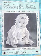 Woolies For Babies Red Heart Crochet Manuel #178 1942 Blankets Clothes Spool Co.