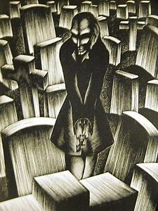 Lynd Ward 1930 INTELLECTUAL SURROUNDED by DEATH CEMETERY Art Deco Print Matted