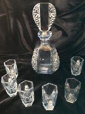 ART DECO BLUE GLASS DECANTER AND 6 SHOT GLASSES - QUALITY