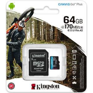 Kingston Canvas Go Plus A2 64GB Micro SD Card (SDXC) Class 10 U3 V30 A2 - 170MBs