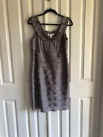 Iridescent Grey/Silver Cocktail Dress Size 14P Ruffled Neck  London Times