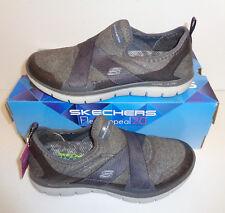 Skechers Ladies Flex Appeal 2.0 Memory Foam Charcoal Trainers Shoes UK Sizes 3-8
