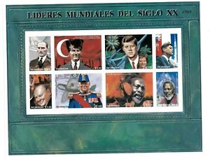 Nicaragua - World leaders - Churchill JFK Kennedy - Sheet of 8 Stamps - MNH