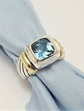 David Yurman Noblesse Sterling Silver Ring with 14K Yellow Gold & Blue Topaz