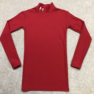 Under Armour Cold Gear Shirt Youth Small Long Sleeve Mock Neck Fitted Red Top