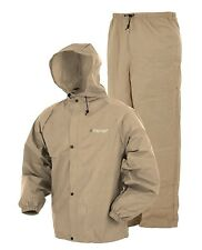 Frogg Toggs Ultra Lite Rain Suit LRG Waterproof Rain Gear Set Men Hike Camp TAN-