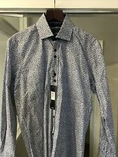 Guide London Navy And White Floral  Fitted  Shirt Large