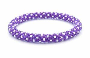 """Sashka Co reg 6-8"""" WICKED WITCH Glass Beaded BRACELET purple white clear Jewelry"""