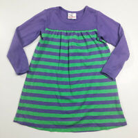 Hanna Andersson Girls Purple Green Striped Dress 110 5