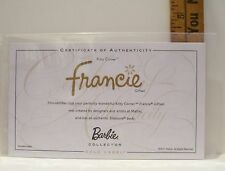 MATTEL FRANCIE SILKSTONE DOLL KITTY CORNER CERTIFICATE OF AUTHENTICITY COA ONLY