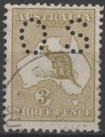 Australia 1913 1st wmk 3d Yellow Olive Kangaroo, Die I, perf small OS (AP49)
