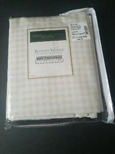 "Croscill Berkshire Gingham Khaki White Check BLOUSON VALANCE Farmhouse 94""x15"""