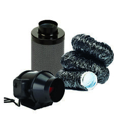 Hydroponic Fox Silent Black Acoustic Ducting Carbon Filter Kit Grow Tent UK