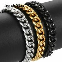 6/9/11mm Stainless Steel Curb Cuban Link Chain Bracelet for Men Boys 8/9/10inch