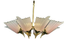 MURANO Italian Art Deco Art Glass Chandelier Brass Pink Frosted Shades Italy 34""