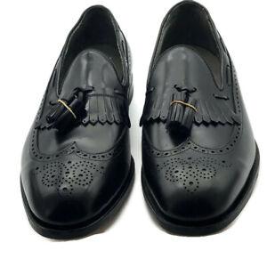 Footjoy Mens Classic Dress Loafers Black Leather Kiltie Wingtip Shoe 10.5C