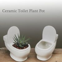 Toilet Shape Flower Pot White Ceramic Mini Planter Succulent Plants Office Decor