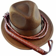 Indiana Brown Hat and Whip Mens Costume Accessories Set Jones Movie Action Hero