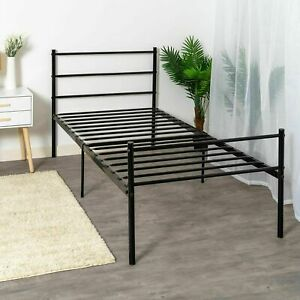 Single Bed Frame Black 3ft Available With Mattress For Adults Kids Sprung Metal