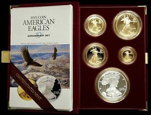 1995 W American USA Eagle 10th Anniversary 5 Gold & Silver Proof Coins Set COA